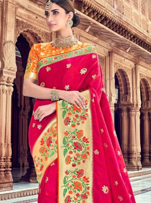 Red Color Designer Traditional Saree