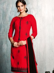 Red Cotton   Embroidered Churidar Suit