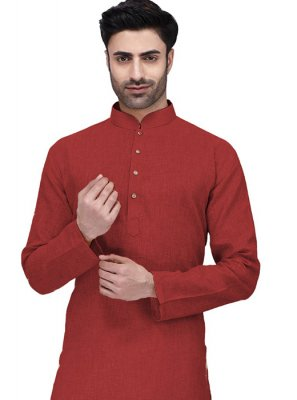 Red Cotton Festival Kurta
