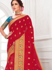 Red Cotton Silk Party Traditional Designer Saree