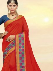 Red Cotton Silk Traditional Designer Saree