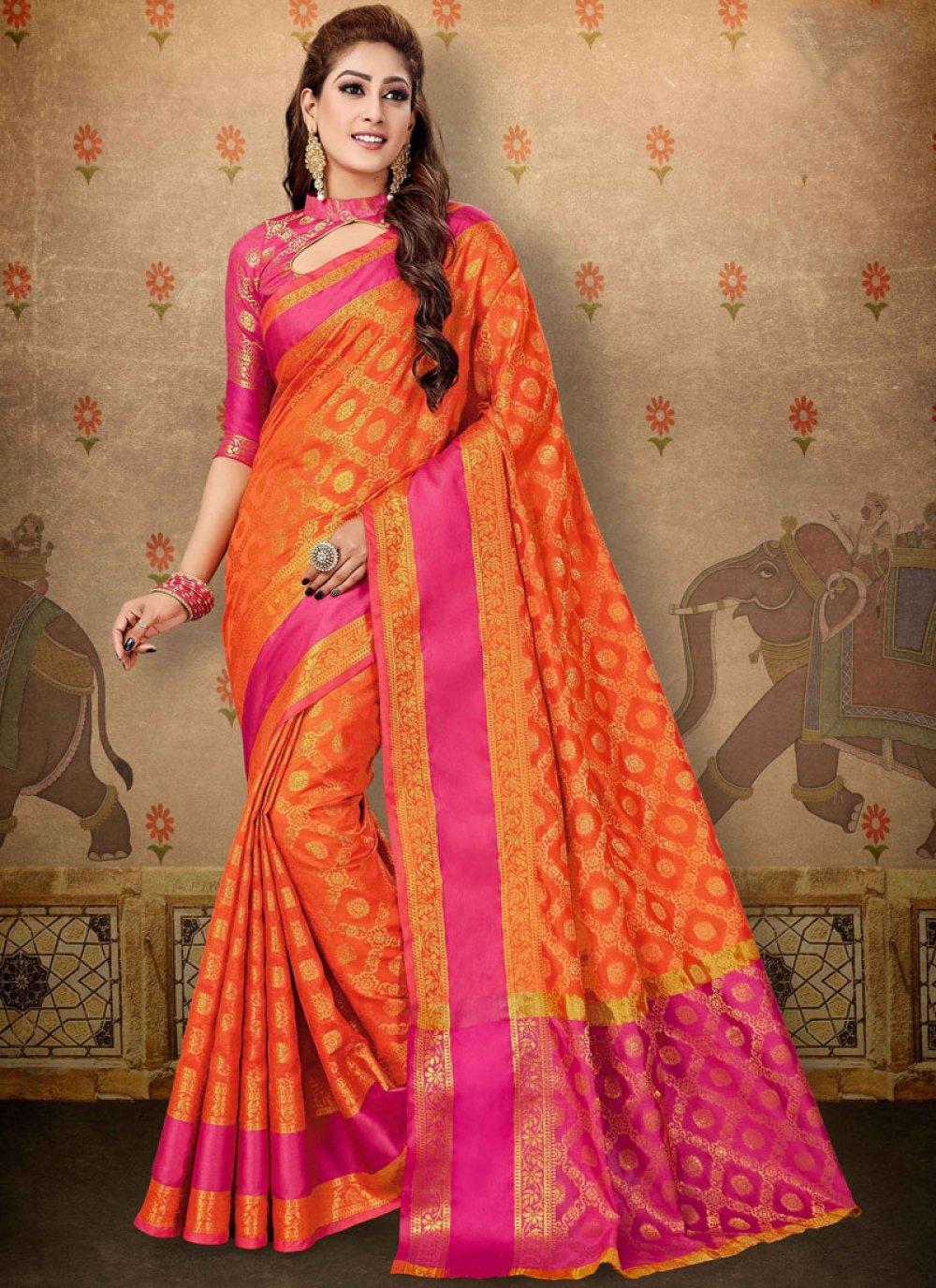 Red Cotton Trendy Saree