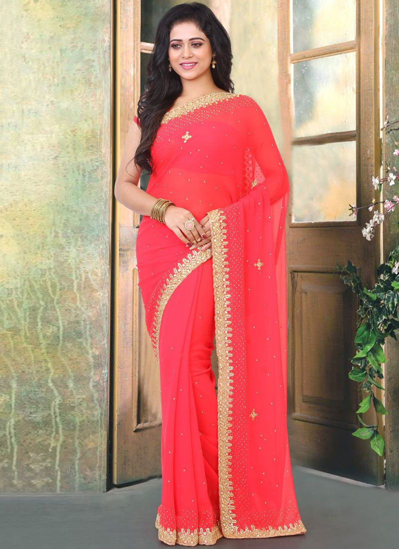 Red Cutdana Designer Traditional Saree