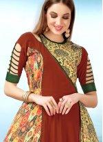 Red Digital Print Maslin Silk Party Wear Kurti