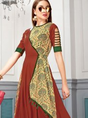 Red Digital Print Maslin Silk Party Wear Kurti