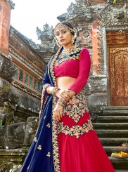 Red Embroidered Art Silk Designer Lehenga Choli
