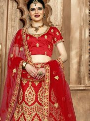 Red Embroidered Art Silk Lehenga Choli