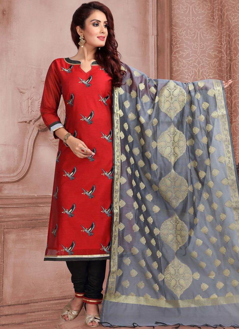 Red Embroidered Banarasi Silk Churidar Salwar Suit