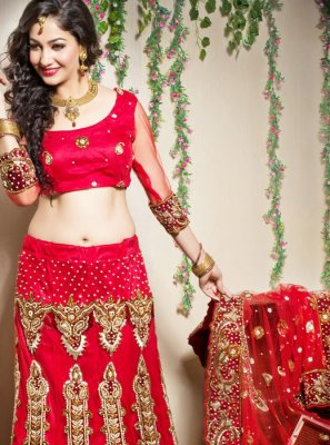 Red Embroidered Bridal Designer Lehenga Choli