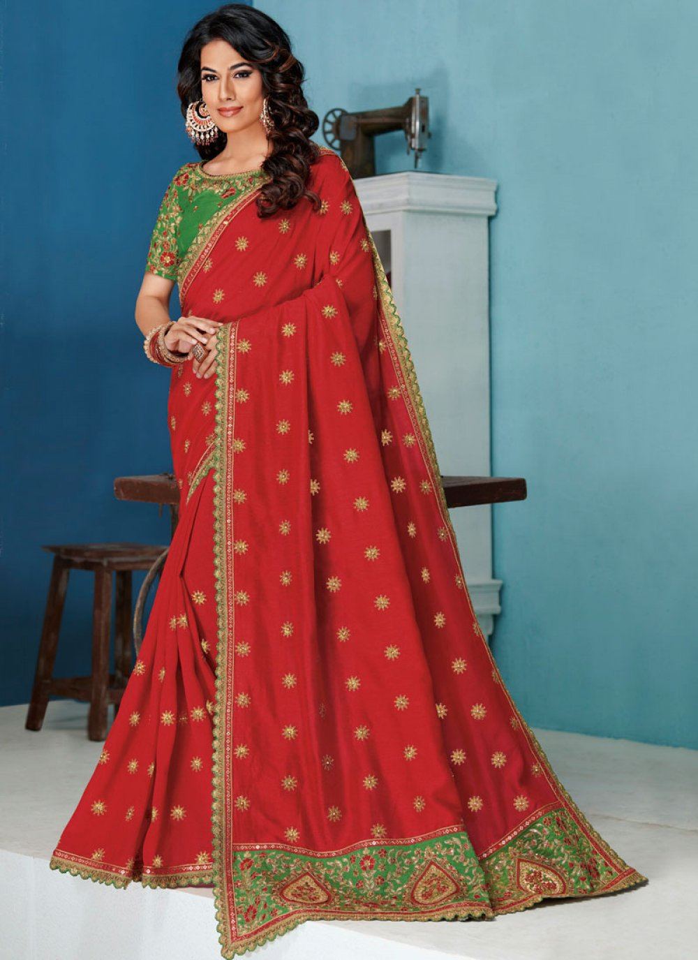 Red Embroidered Bridal Traditional Saree