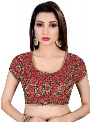 Red Embroidered Brocade Designer Blouse