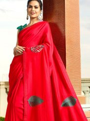 Red Embroidered Classic Designer Saree