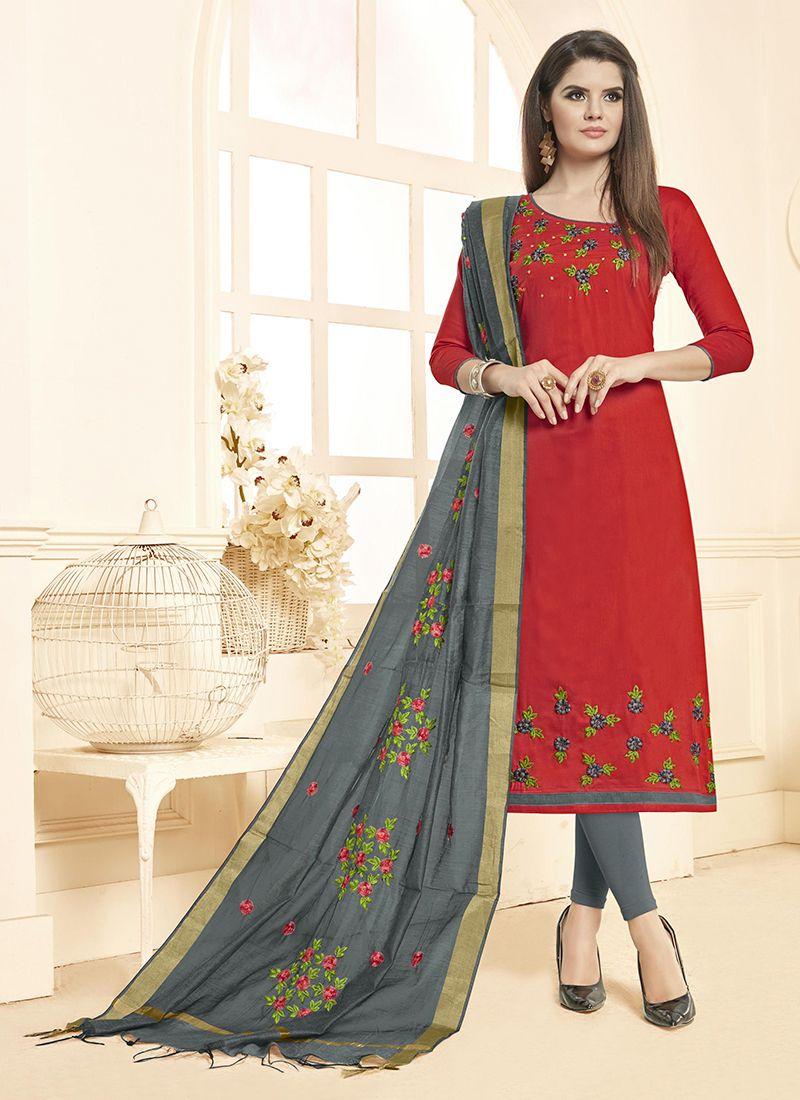Red Embroidered Cotton Salwar Kameez