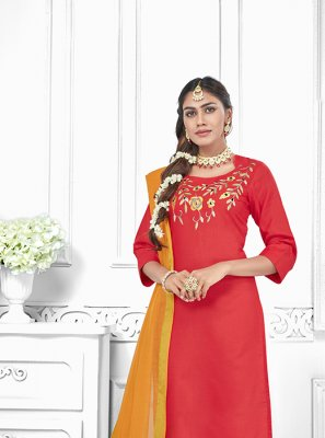 Red Embroidered Cotton Salwar Suit