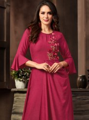 Red Embroidered Designer Kurti