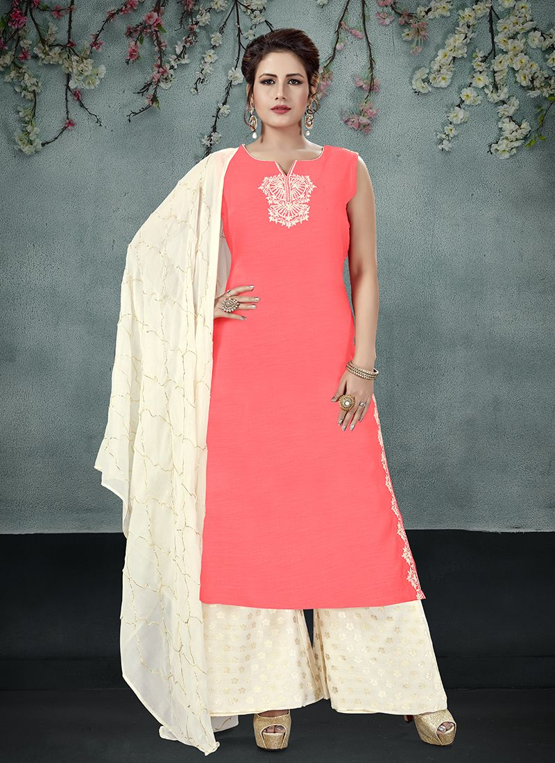 Red Embroidered Designer Palazzo Salwar Suit