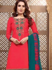 Red Embroidered Designer Patiala Salwar Kameez