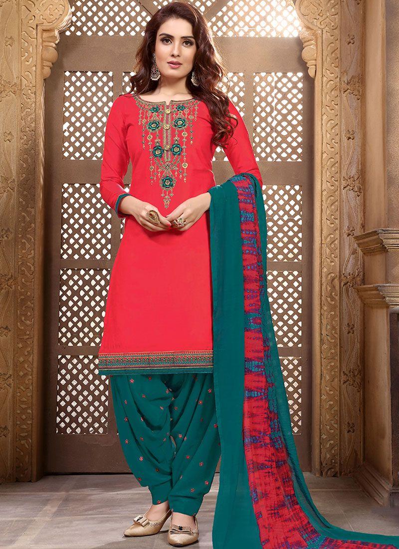 Red Embroidered Designer Patiala Salwar Kameez