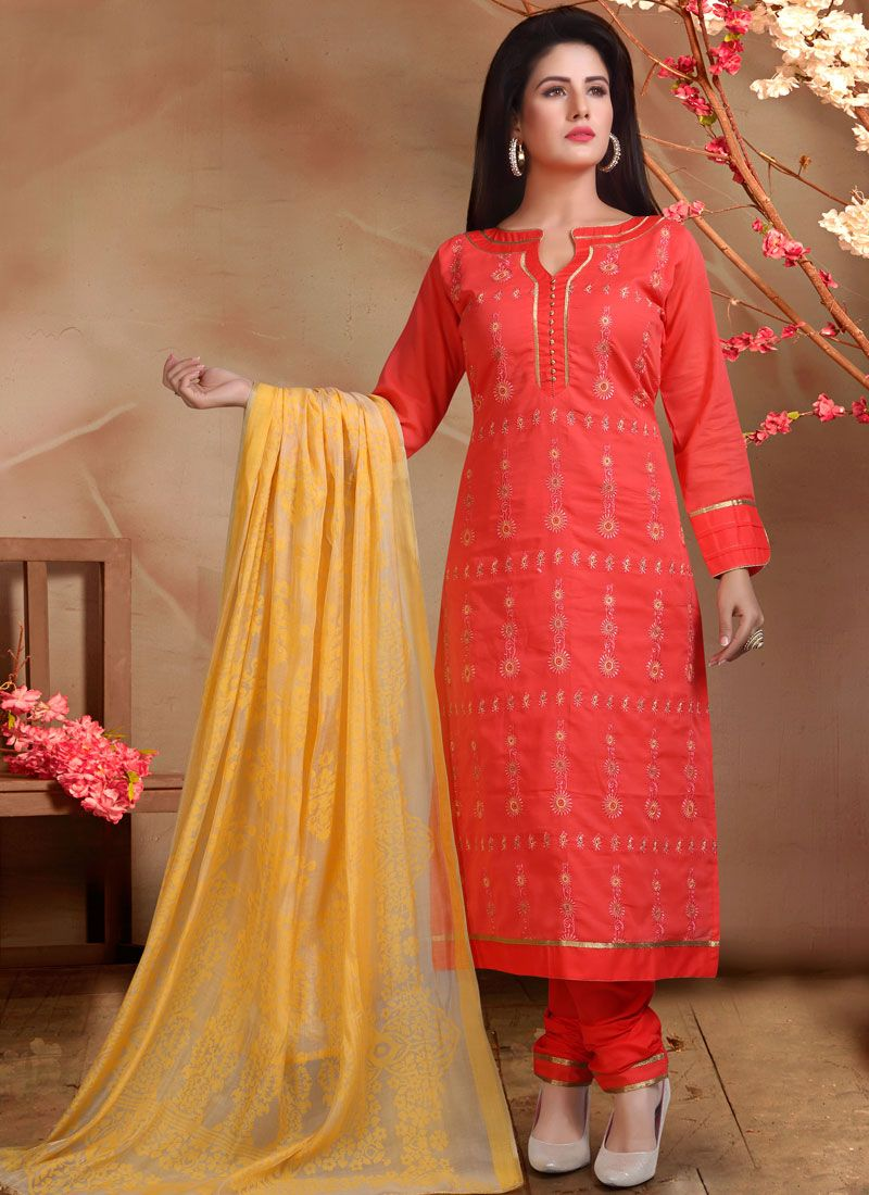Red Embroidered Designer Straight Suit