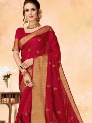 Red Embroidered Fancy Fabric Classic Designer Saree