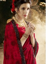 Red Embroidered Faux Georgette Classic Saree