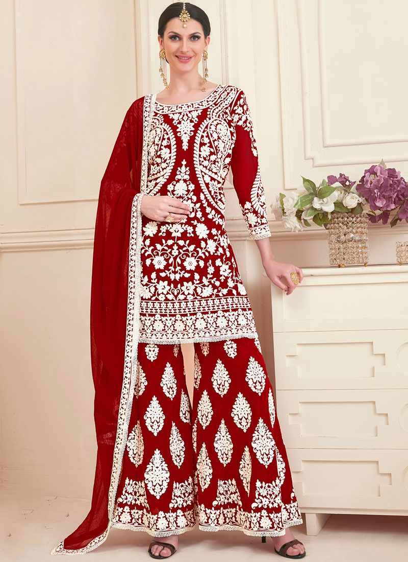 Red Embroidered Faux Georgette Designer Pakistani Suit