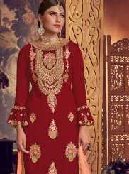 Red Embroidered Faux Georgette Designer Palazzo Salwar Kameez