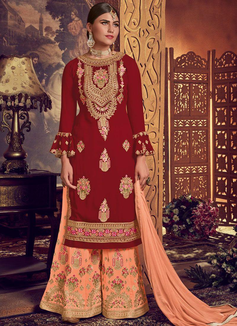 Red Embroidered Faux Georgette Designer Palazzo Salwar Kameez
