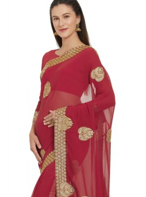 Red Embroidered Faux Georgette Saree