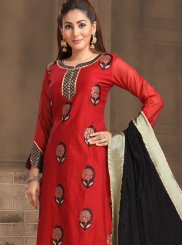 Red Embroidered Festival Designer Salwar Kameez