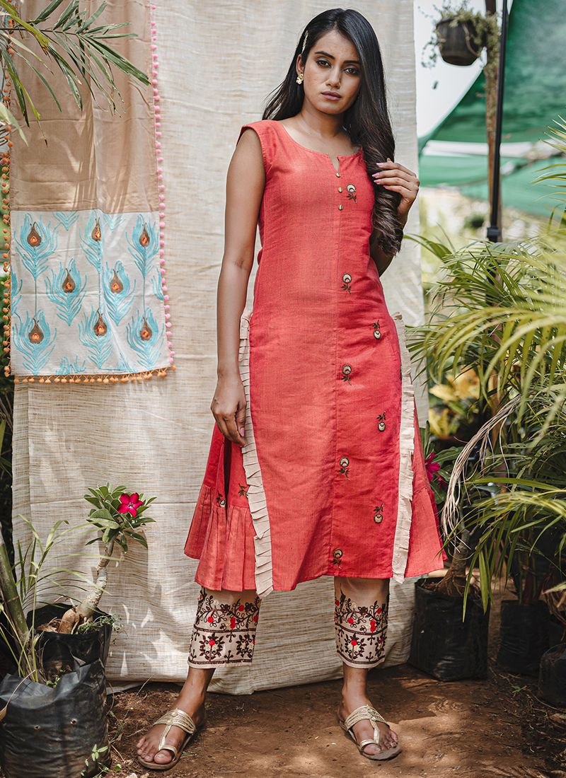 Red Embroidered Khadi Party Wear Kurti