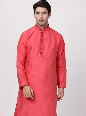 Red Embroidered Kurta Pyjama