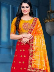 Red Embroidered Mehndi Designer Lehenga Choli