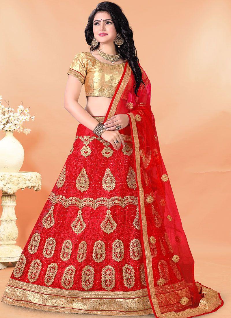 Red Embroidered Mehndi Trendy Lehenga Choli