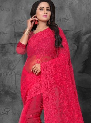 Red Embroidered Net Classic Saree