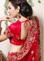 Red Embroidered Net Designer Lehenga Choli