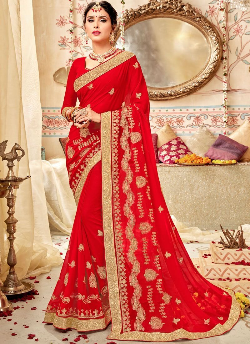 Red Embroidered Party Saree