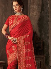 Red Embroidered Poly Silk Silk Saree