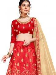 Red Embroidered Sangeet Trendy Lehenga Choli