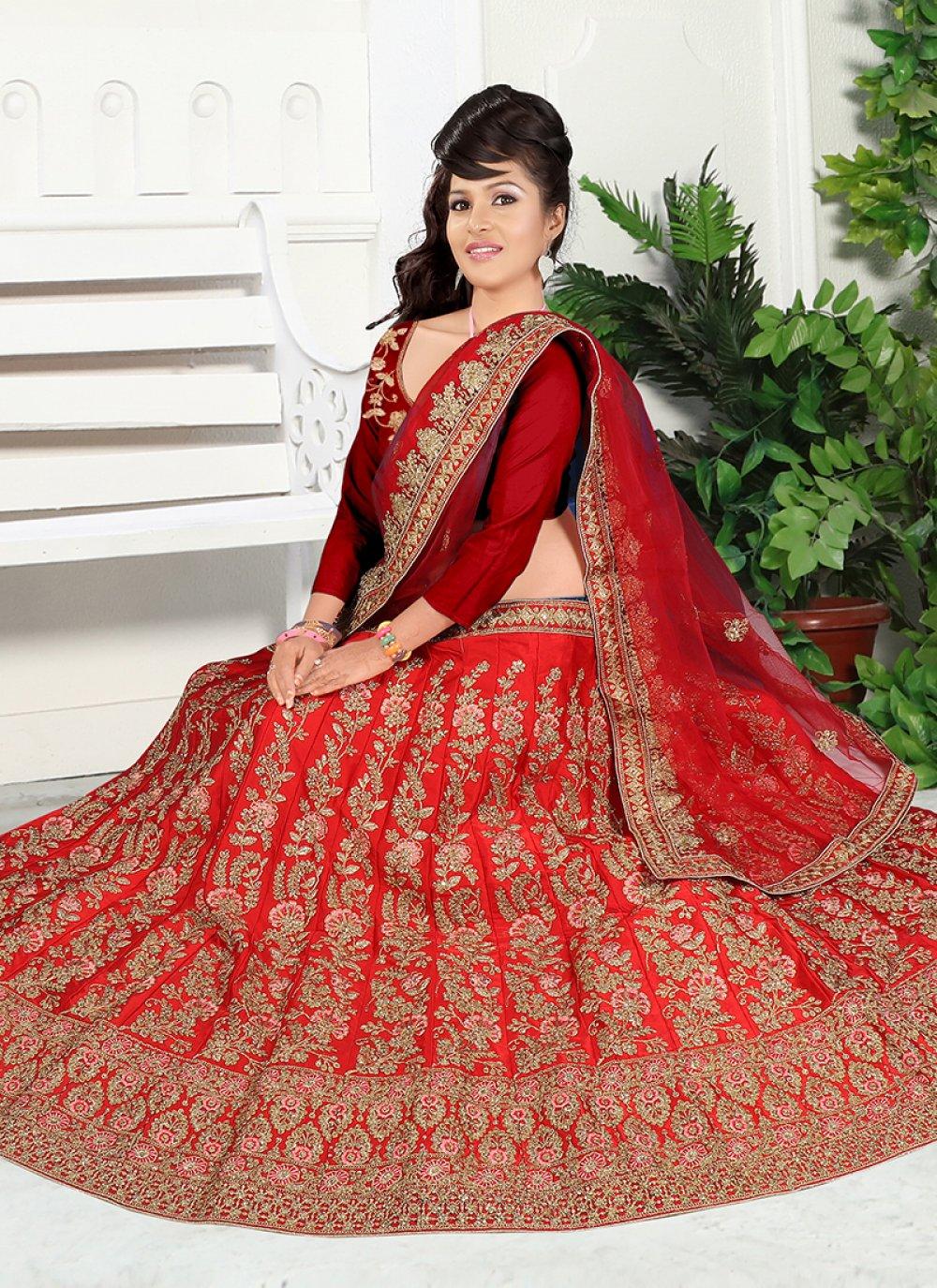 Red Embroidered Satin Silk Trendy Designer Lehenga Choli