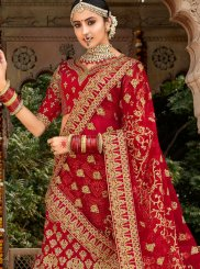 Red Embroidered Trendy A Line Lehenga Choli