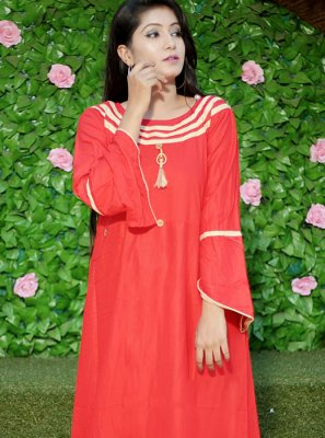 Red Fancy Casual Kurti