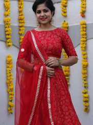 Red Fancy Fabric Mehndi Readymade Lehenga Choli