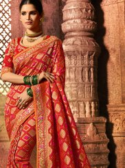 Red Fancy Fabric Resham Saree