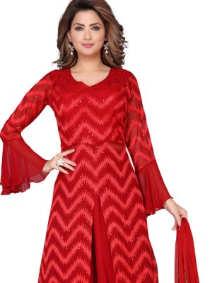 Red Fancy Faux Georgette Readymade Suit