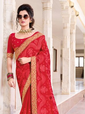 Red Faux Chiffon Ceremonial Saree