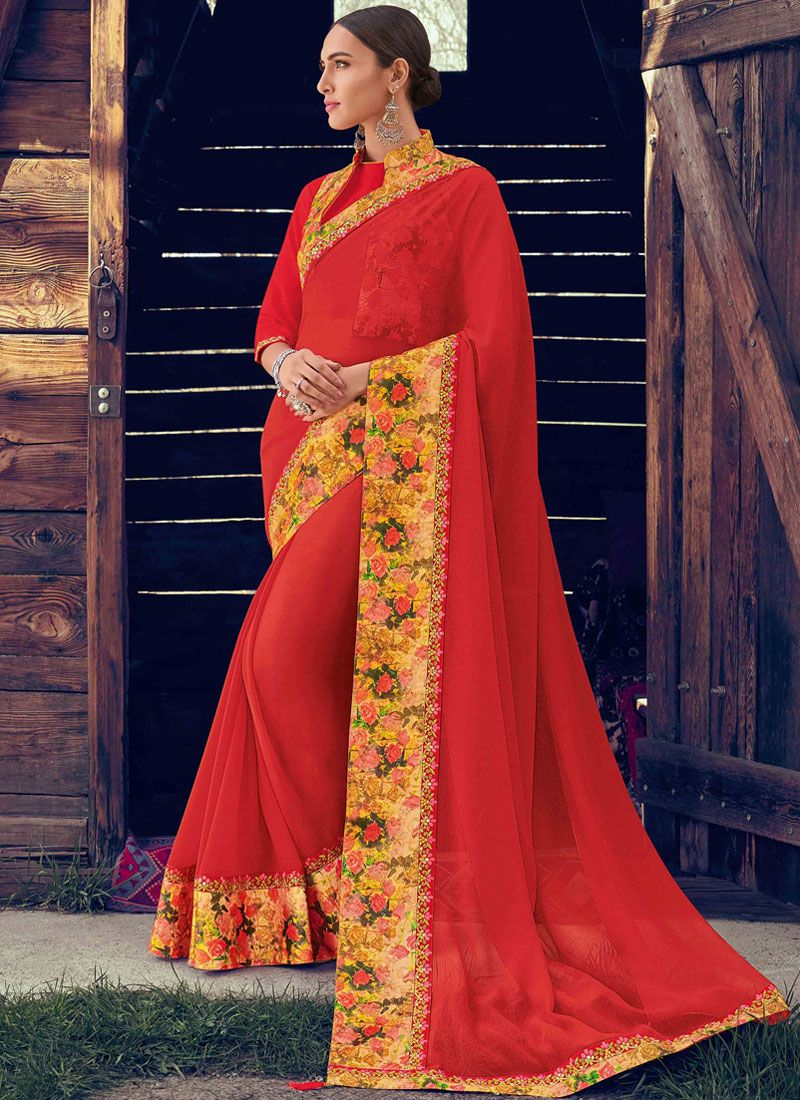 Red Faux Chiffon Saree