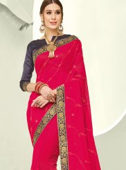 Red Faux Chiffon Trendy Saree
