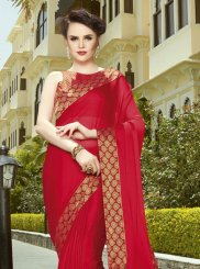 Red Faux Chiffon Weaving Trendy Saree