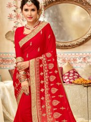 Red Faux Georgette Classic Designer Saree